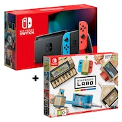 Nintendo Switch Console Neon Blue / Neon Red Joy-Con Controllers + Labo Toy-Con: Vairey Kit