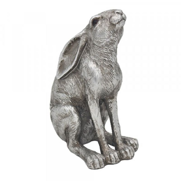 Reflections Silver Hare Gazing Figurine By Leonardo - Image 1