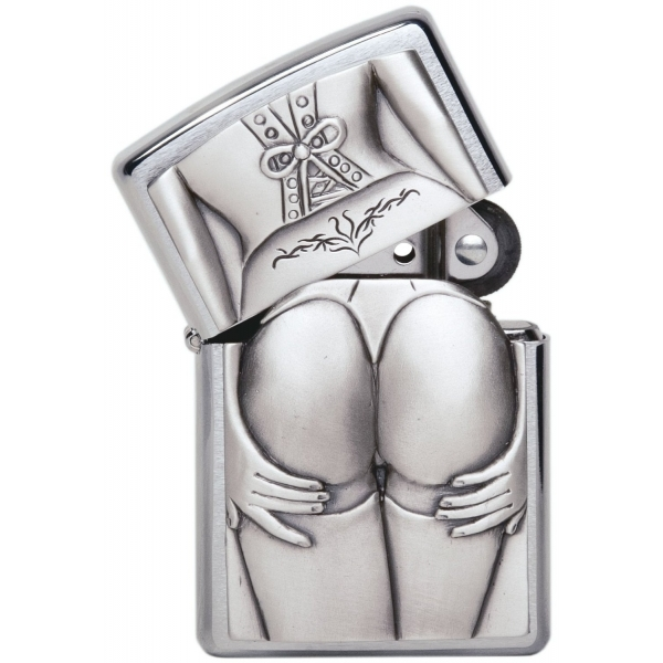 Zippo Unisex Adult Stocking Girl Emblem Windproof Pocket Lighter Chrome
