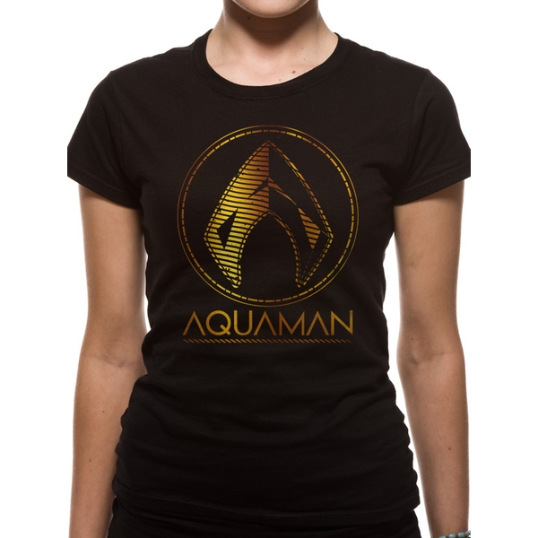 Aquaman Movie - Metallic Symbol Women's X-Large T-Shirt - Black
