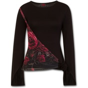 Gothic Elegance Blood Rose Sash Wrap Women's X-Large Long Sleeve Top - Black