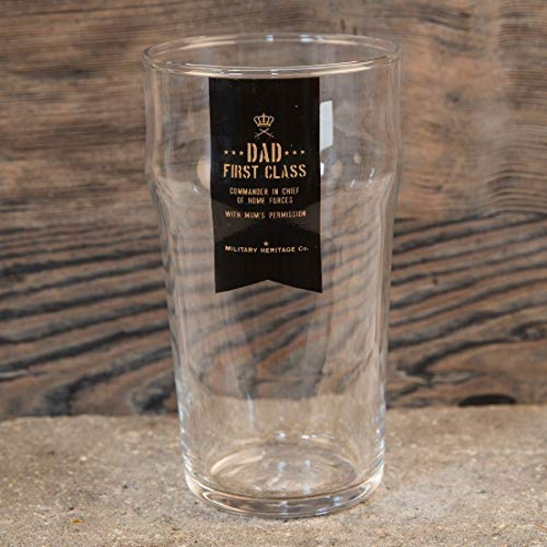 Military Heritage Beer Glass - Dad First Class