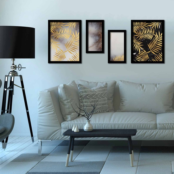4P3040SCT012 Multicolor Decorative Framed MDF Painting (4 Pieces)