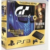 500GB SUPER SLIM Console System Black PS3 with Gran Turismo 6 (plus Digital Content) & the Last of Us