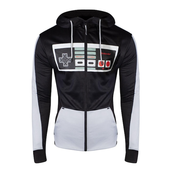 Nintendo - Nes Controller Front Men's Large Hoodie - Black/Grey