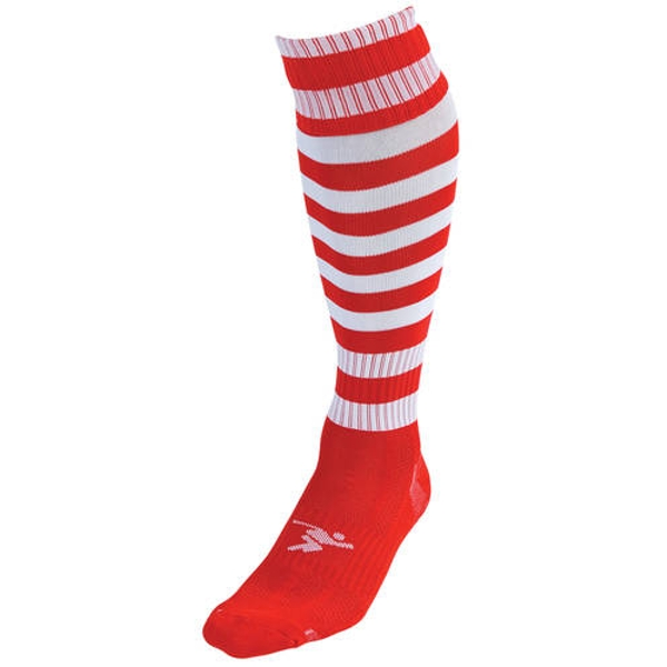 Precision Red/White Hooped Pro Football Socks Adult - UK 7-11