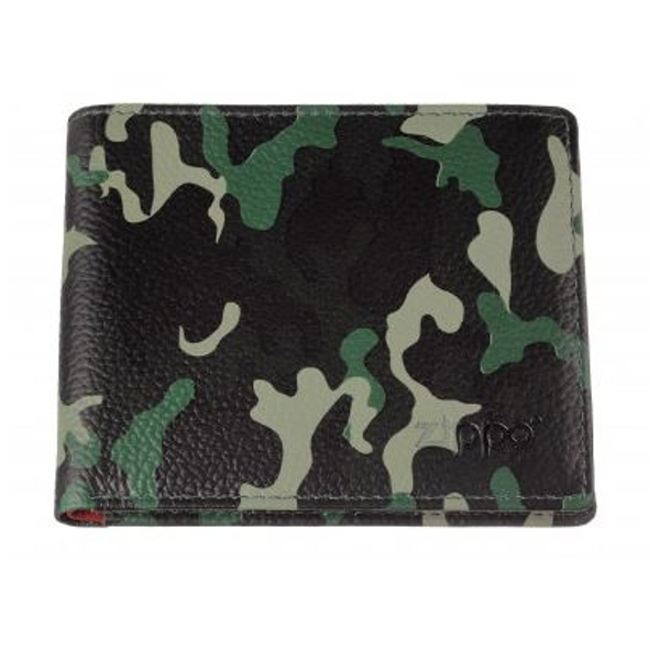 Zippo Green Camouflage Leather Credit Card Wallet (10.8 x 8.6 x 1.8cm)