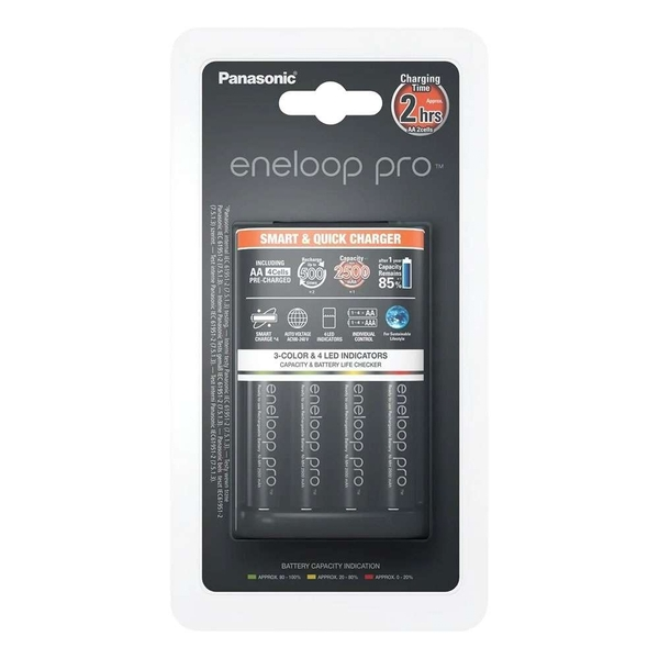 Panasonic ENELOOP BQ-CC55 UK Plug in Charger including 4x AA 2500mAh Batteries UK Plug