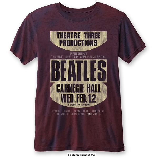 The Beatles - Carnegie Hall Unisex Small T-Shirt - Blue,Red