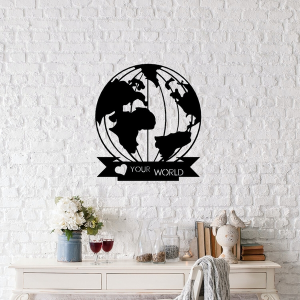 Love Your World Black Decorative Metal Wall Accessory