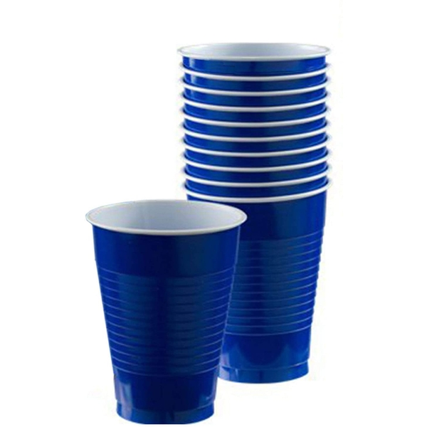 Amscan Disposable Plastic Cups (Royal Blue)