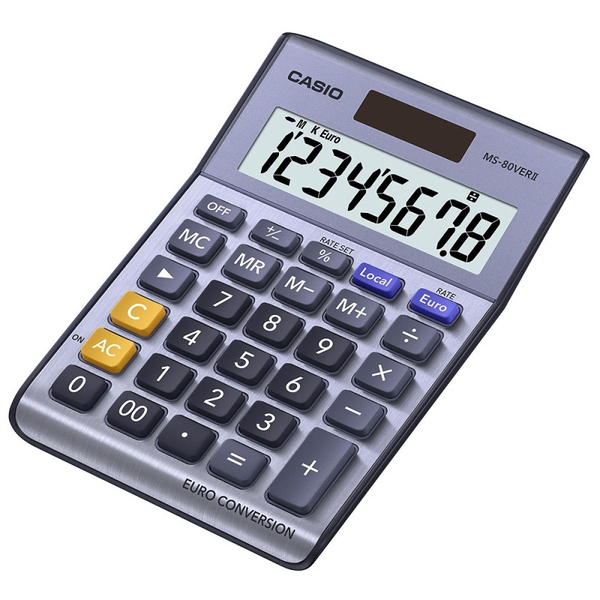 Casio MS80VER Desk Calculator with Euro Conversion