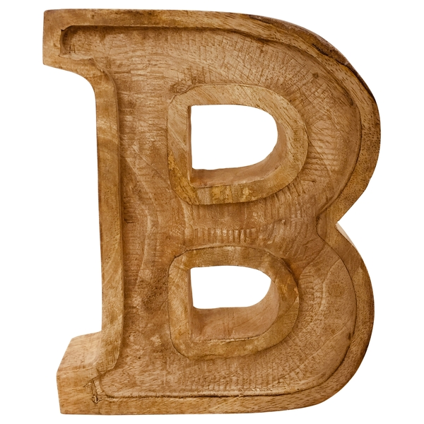 Letter B Hand Carved Wooden Embossed