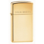 Zippo Slim With 'Solid Brass' On The Lid High Polished Brass Windproof Lighter