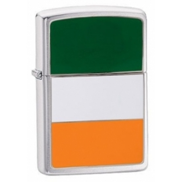 Zippo Ireland Flag Emblem Brushed Chrome Windproof Lighter - ozgameshop.com