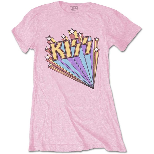KISS - Stars Women's Large T-Shirt - Pink