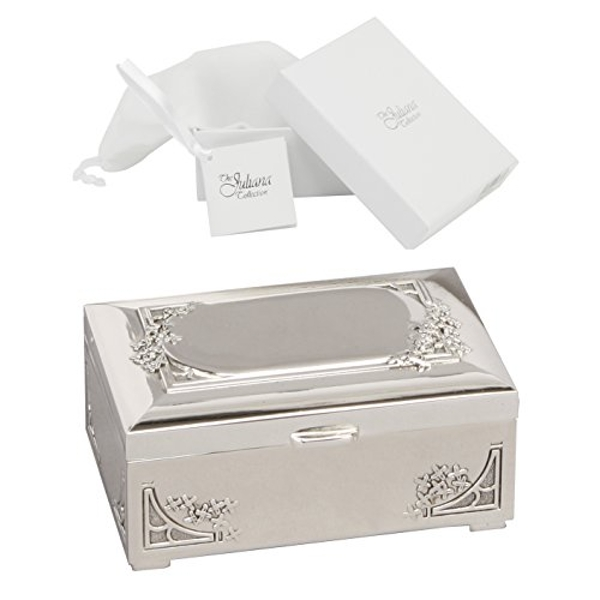 Sophia Silverplated Trinket Box with Engraving Plate