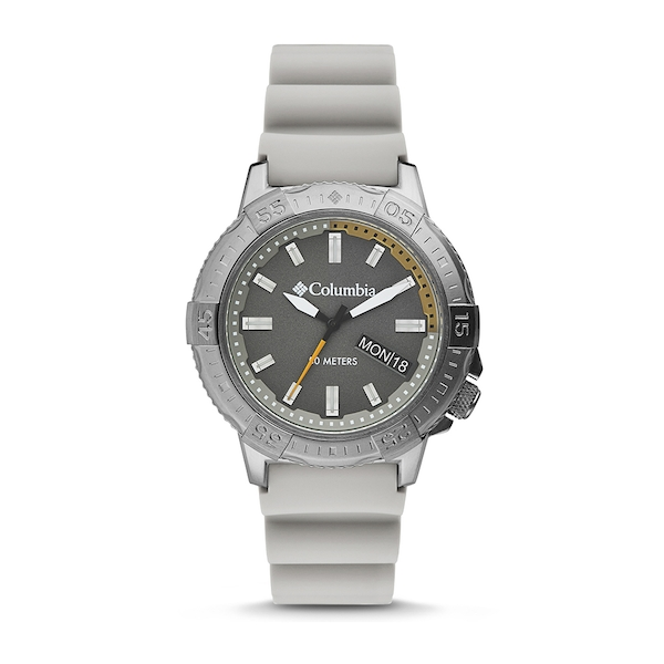 Peak Patrol Grey 3-Hand Day Date Khaki Silicone Watch
