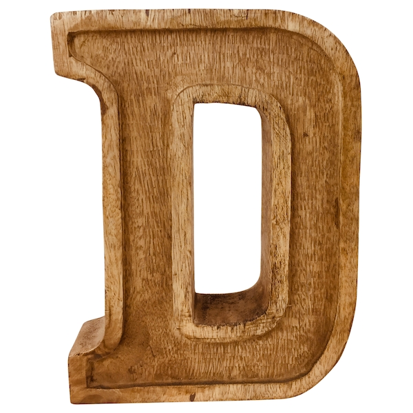 Letter D Hand Carved Wooden Embossed