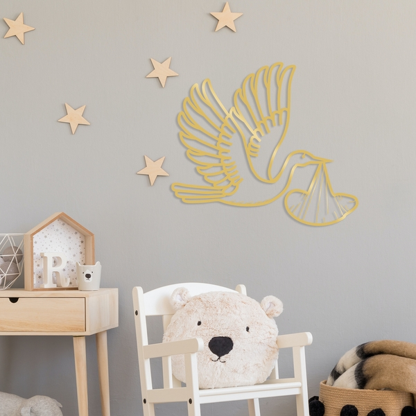 Stork - Gold Gold Decorative Metal Wall Accessory