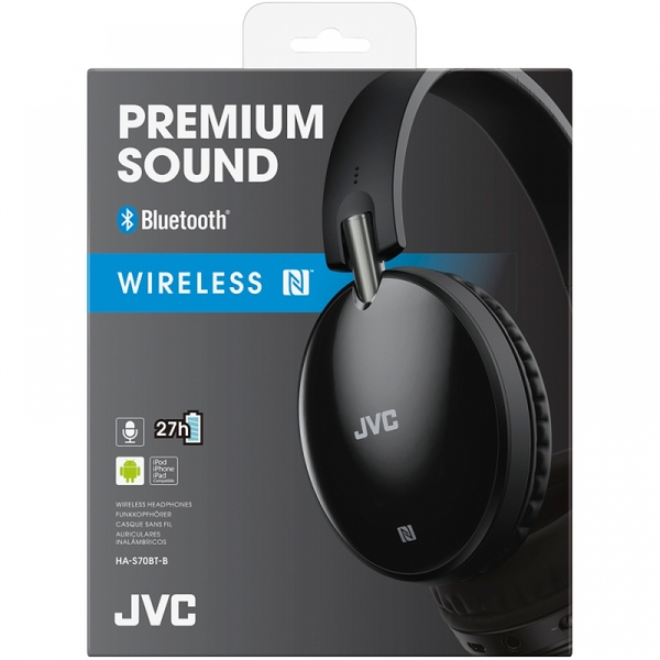 JVC HAS70BTBE Premium Sound Bluetooth Around Ear Headphones Black - Image 2