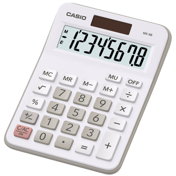 Casio MX8B-WE Desk Calculator 8 Digit Display - White
