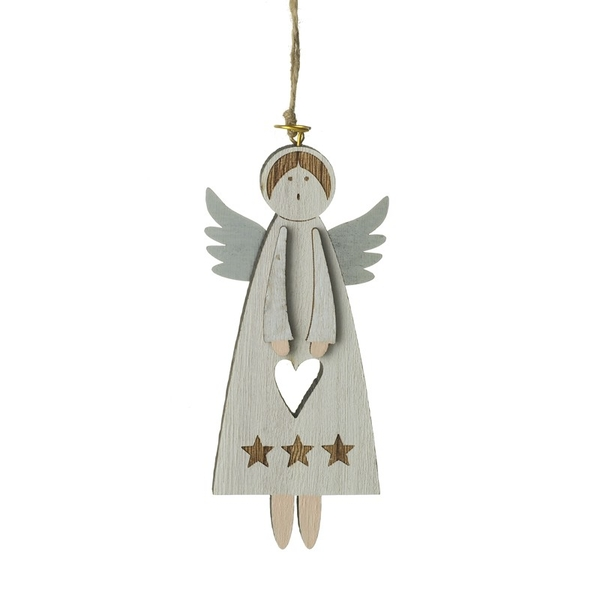 Hanging Wooden Angel Decoration
