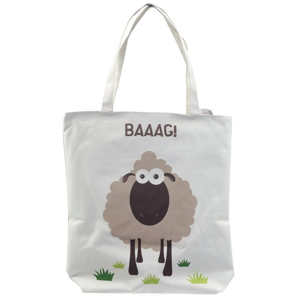 Sheep Design Cotton Zip Up Shopping Bag