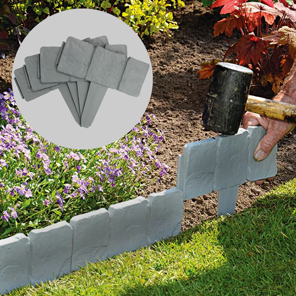 Flat Stone Edging: 5m Grey Stone Effect Lawn Edging