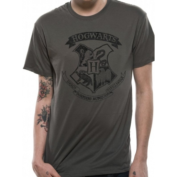 Harry Potter - Distressed Hogwarts (Unisex) Grey Large
