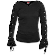 Gothic Elegance Laceup Sleeve Women's Small Long Sleeve Top - Black