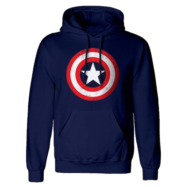 Marvel Comics - Captain America Shield Unisex Small Hooded Sweatshirt Pullover - Blue