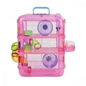 (Damaged Packaging) XPet Hamster & Gerbil 3 Storey Tier Pink Cage With Tubes