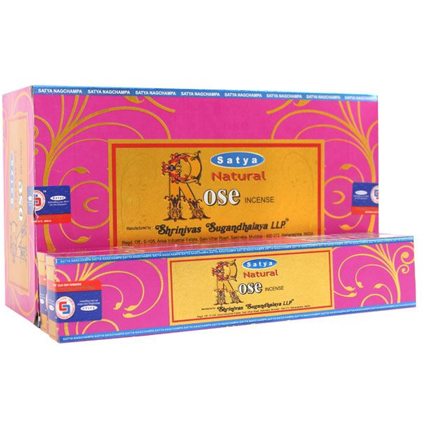 Box of 12 Packs of Natural Rose Incense Sticks by Satya