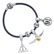 Harry Potter Charm Set- Black Leather Bracelet/Deathly Hallows/Snitch/Platform/2 Spellbeads