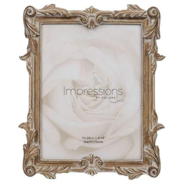 """6"""" x 8"""" - Impressions Antique Carved Wood Finish Photo Frame"""