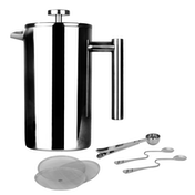 French Press Cafetiere | Steel Coffee Maker | FREE Filters & Spoons | M&W 1000ml