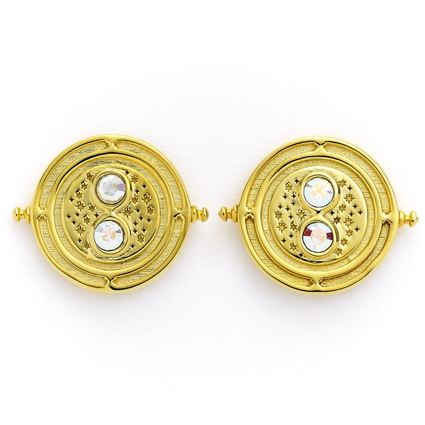 Harry Potter Sterling Silver Gold Plated Time Turner stud earrings with Swarovski Crystal Elements