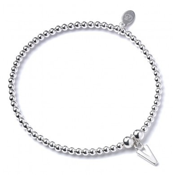 Initial V Charm with Sterling Silver Ball Bead Bracelet