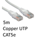 RJ45 (M) to RJ45 (M) CAT5e 5m White OEM Moulded Boot Copper UTP Network Cable - Image 2