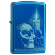 Zippo Unisex's Skull Design High Polish Blue Windproof Lighter