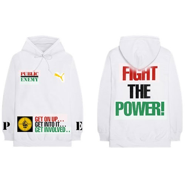 Public Enemy - Fight The Power Unisex Large Hoodie - White