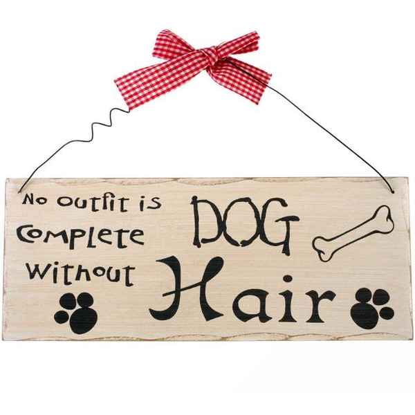 No Out Fit Is Complete Without Dog Hair Hanging Sign