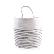 Hanging Cotton Rope Basket | M&W White with Black Thread