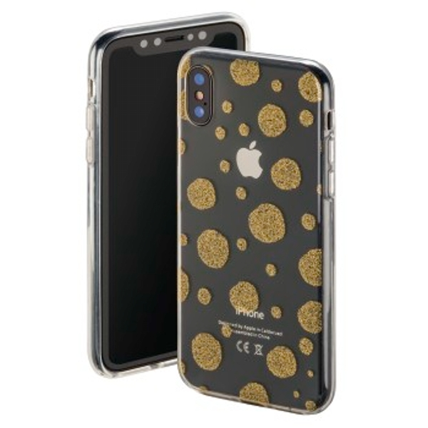 "Hama ""Golden Circles"" Cover for Apple iPhone X, transparent/gold"