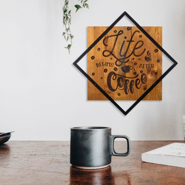 Life Begins After Coffee Walnut Black Decorative Wooden Wall Accessory