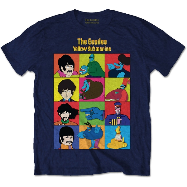 The Beatles - Yellow Submarine Characters Men's Large T-Shirt - Navy Blue