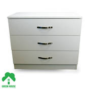 Wooden Chest of Drawers, Bedside Cabinet Bedroom Furniture Green House 3 Drawer Chest White