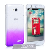YouSave Accessories LG L70 Raindrop Hard Case - Purple-Clear