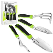Savisto 4-Piece Garden Tool Set - Green/Black Handles